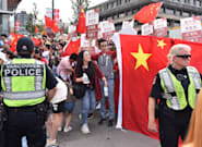 Pro-Hong Kong Protesters Face Mainland China Supporters At Vancouver