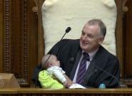 New Zealand Parliament Speaker Trevor Mallard Holds Baby For MP Dad During
