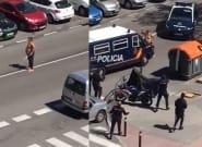Un hombre con dos espadas se enfrenta a una docena de policías en