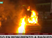 Más de 60 detenidos y un histórico monumento en llamas en las protestas contra el Gobierno en