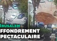 À Jérusalem, un gigantesque cratère dans le parking d'un
