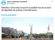 Almeida publica este tuit sobre la marcha de Colón y recibe la misma crítica una y otra