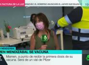 Mamen Mendizábal se vacuna en directo y deja un reivindicativo