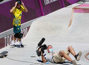 Olympic Skateboarder Wipes Out Cameraman In Men's Park