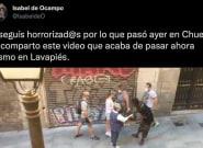 El momento captado por una tuitera en Lavapiés tras la manifestación de neonazis en