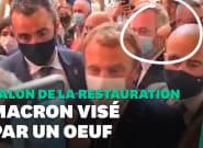 À Lyon, Macron visé par un jet d'œuf lors d'un salon de la