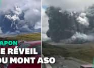 La spectaculaire éruption volcanique du Mont Aso au
