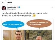 Pablo Iglesias comparte el meme de Felipe VI y el emérito que le ha mandado