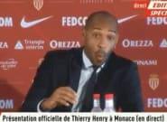Thierry Henry à sa première conférence pour l'AS Monaco a fait une mimique