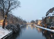 Strasbourg sous la neige avant la marche