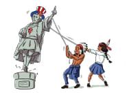 Des fresques représentant Christophe Colomb recouvertes dans une université