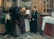 Las curiosas imágenes del traslado de 'El beso de la reliquia', uno de los cuadros de la exposición de Joaquín Sorolla en