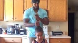 딸 바보 아빠가 공개한 '딸아이 머리묶는
