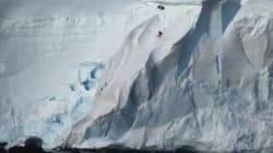 Κάνοντας snowboard σε παγόβουνο της