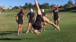 여자 골프팀의 놀라운 골프 트릭을