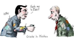 Λίγο πριν τη συνάντηση στο Κρεμλίνο ρακένδυτοι σε σκίτσο Τσίπρας - Πούτιν στην