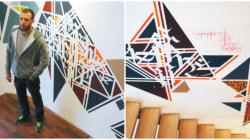 Les tags en poésie de Sneak habillent l'escalier de l'Institut français d'Alger