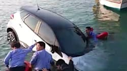 해경이 물에 빠지는 차에서 사람을
