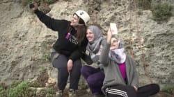 Deux américains initient des palestiniens à l'Escalade