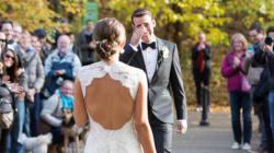 결혼식 날 연인의 치장한 모습을 처음으로 본 22 신랑들의