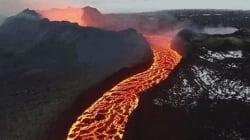 Πτήση με drone πάνω από το ηφαίστειο Holuhraun στην