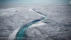 그린란드 빙상이 녹아내리는 드론 동영상은