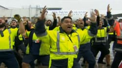 Le haka du personnel de l'aéroport pour le retour des All Blacks au