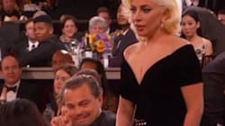 LOOK: Leo Wins A Globe, Photobombs Lady Gaga's