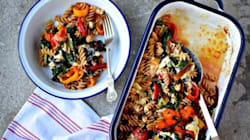 Self-Saucing Cheese and Roasted Vegetable Pasta and Thoughts on Comfort