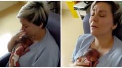 미숙아로 태어난 아기를 처음 안아본