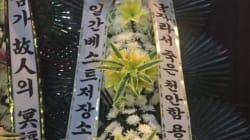 일베, 강남역 추모장소에 근조 화환