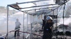 Φωτιά στον καταυλισμό των προσφύγων στη Σούδα της