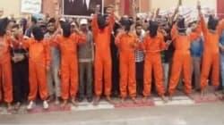 A Inezgane, des manifestants enfilent la combinaison des prisonniers de