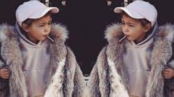 킴 카다시안의 세 살짜리 딸은 정말 스타일리시하다