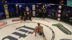 Ce combattant met son adversaire KO puis le capture comme un