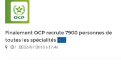 Non, l'OCP ne va pas embaucher 7.900 salariés d'un