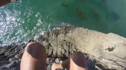 Il saute d'une célèbre falaise et frôle la mort de très