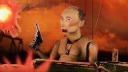 Ο Πούτιν μαριονέτα, γυμνός από τη μέση και πάνω οδηγεί τανκ και σαρώνει αμάξια για να παρκάρει η κόρη