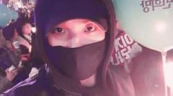 배우 이준이 '촛불집회' 인증샷을