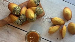 Orange Pistachio Madeleines With Cardamom Butterscotch