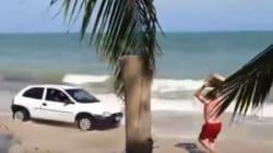 Οδηγός «γκαζώνει» πάνω στην παραλία και λουόμενος απαντά πετώντας του ένα