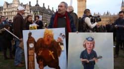 Χιλιάδες διαδηλωτές έξω από το βρετανικό κοινοβούλιο κατά της επίσκεψης