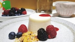 Cereal Milk Panna Cotta With Raspberry