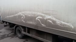 Cet artiste transforme les véhicules recouverts de poussière en oeuvres d'art