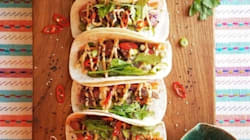 BBQ Beef Korean Tacos With Asian Slaw, Pickled Cucumber And Gochujang