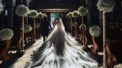 La robe de mariée de l'héritière Victoria Swarovski pesait 46 kilos tellement il y avait de