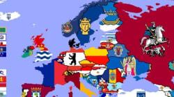 Ένας υπέροχος, πολύχρωμος χάρτης φτιαγμένος από σημαίες και εμβλήματα της πρωτεύουσας κάθε