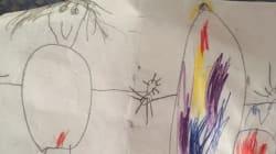 아이가 가족 초상화에 '빨간 점'을 그린