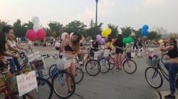 이들이 한강공원에서 '짧은 옷' 입고 자전거 탄 좀 다른