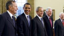 Les ex-présidents américains réunis pour les sinistrés des ouragans mais sans leur cible préférée: